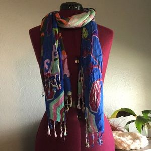 Beautiful blue lightweight floral scarf